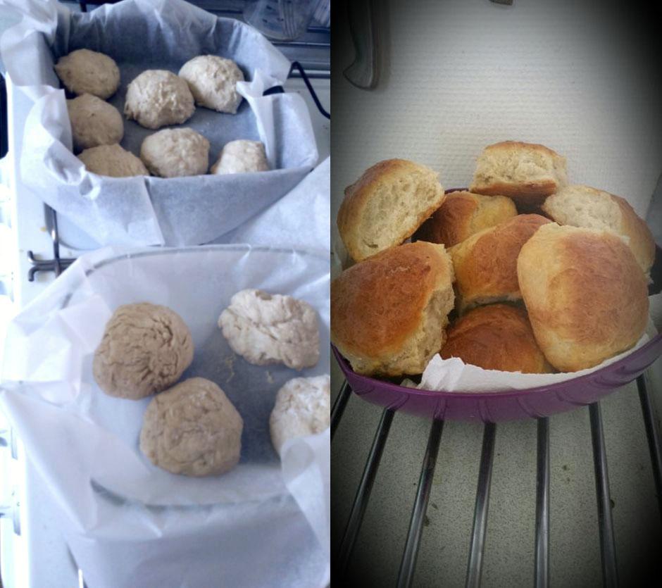 대기도절에만 먹는 밀빵. 만드는 과정(왼쪽)과 완성된 모습 (사진: 탄야 닐슨)