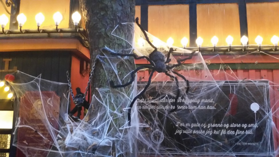 Some of the decoration you will find in Tivoli. A kat being feed to a spider