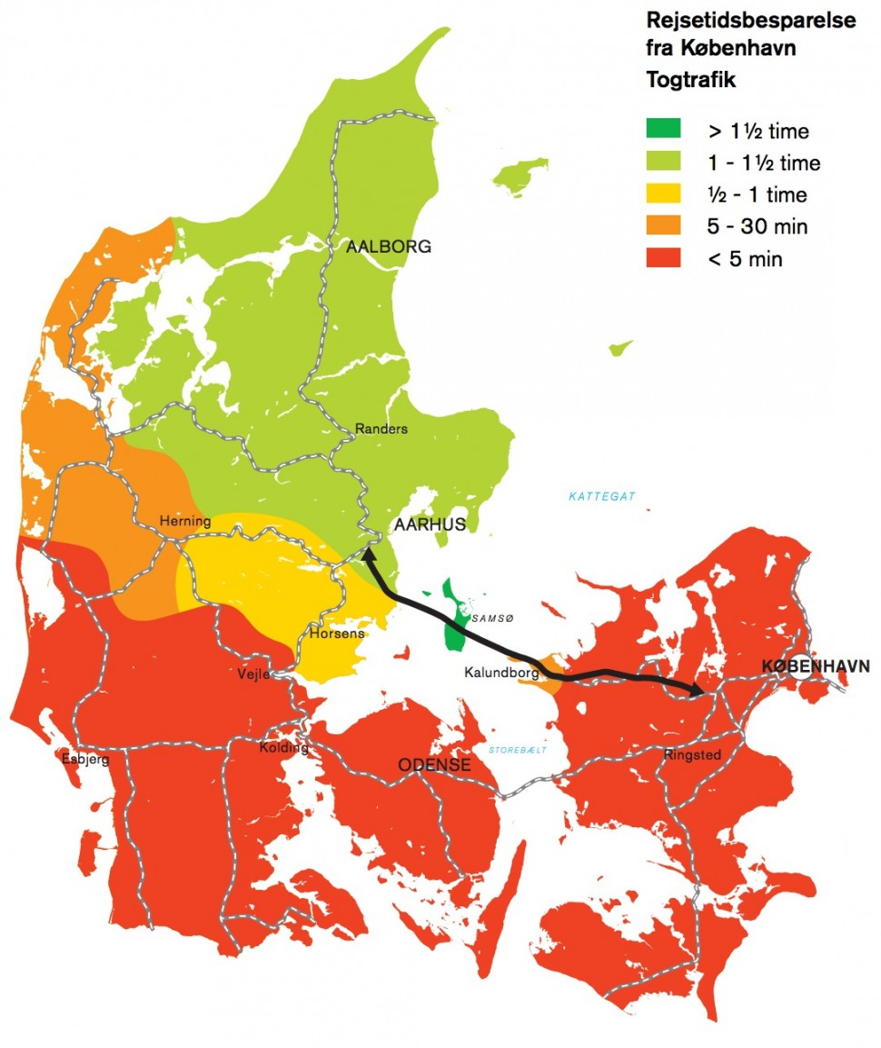 카테가트 대교를 지나는 기차를 탈 경우 코펜하겐에서 유틀란트 반도로 갈 때 단축되는 이동시간. 진한 녹색은 1.5시간 이상, 녹색은 1~1.5시간, 노란색은 30분~1시간, 주황색은 5~30분, 빨간색은 5분 미만이다 (가테가트위원회 제공)