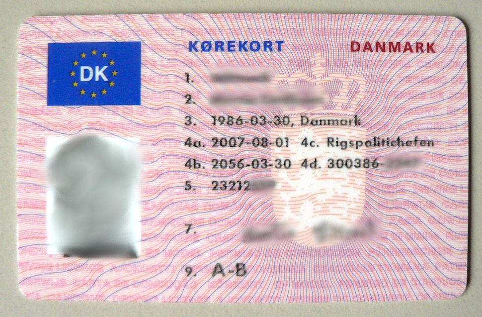 덴마크 운전면허증(출처: 위키미디어커먼즈 CC PD)