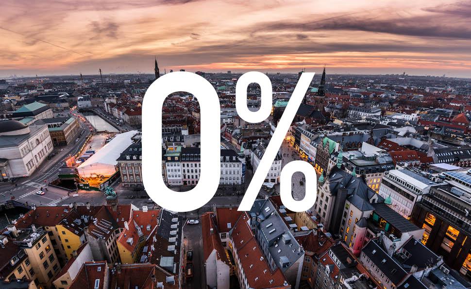 덴마크 금융그룹 위스케 레알크레디트가 10년 만기 고정 금리 0퍼센트인 주택담보대출을 출시한다고 2019년 2월19일 발표했다