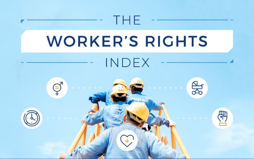 영국 소기업 컨설팅 업체 스몰비즈니스프라이스(Small Business Price.co.uk)가 발표한 2019년 노동자 권리 지수(2019 Worker's Rights Index)